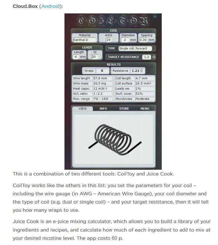 Coil Building Calculator Coil Builds Vapor Talk Forum