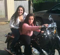 my new V twin (Fatboy) and my twin daughters(15)